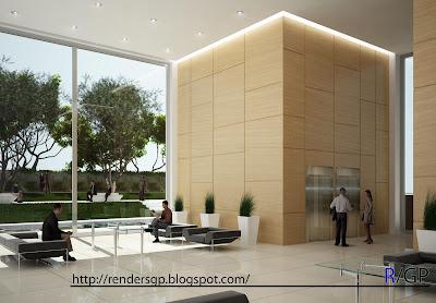 Renders arquitectura 3d hall edificio de oficinas for Oficinas de arquitectura