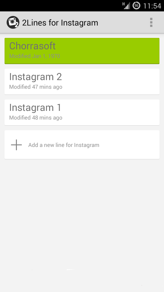 download 2lines for Instagram to open more than one  accaent on one device