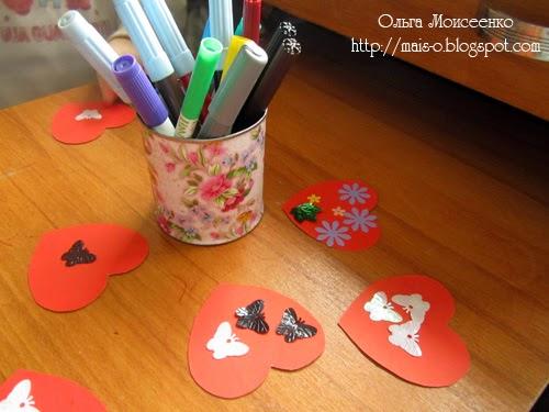 детская открытка-сердечко, идея для открытки с детьми