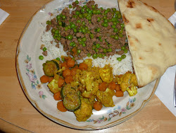 Ground Lamb with Peas, Cauliflower Mixed Vegetables and Roasted Rice