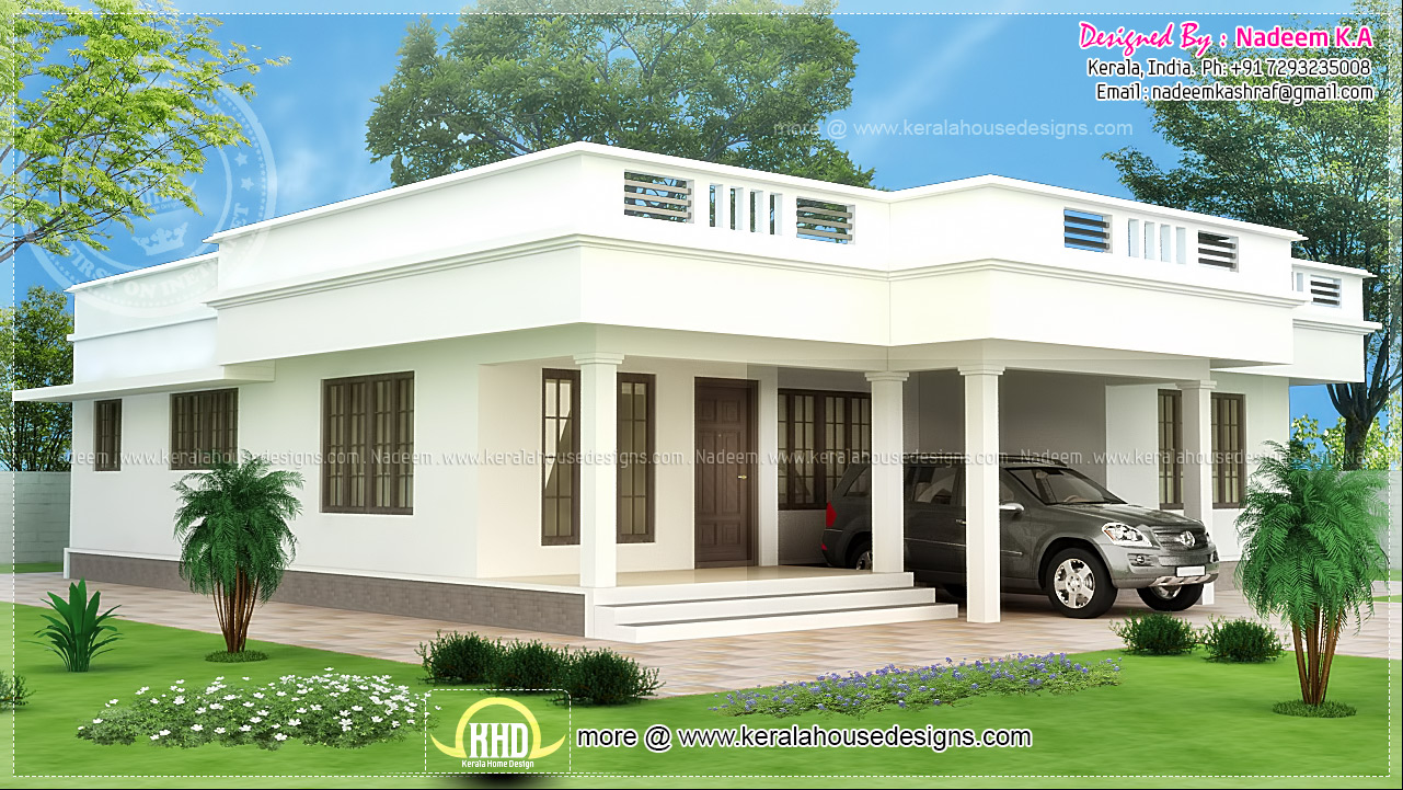 Flat roof single storey home in 1850 sq ft kerala home for Single storey house plan