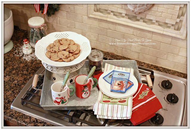Vintage Farmhouse Christmas Kitchen-Hot Cocoa Station-From My Front Porch To Yours