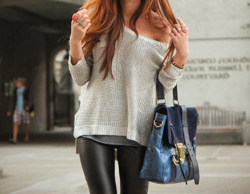 Leather Leggings And Comfy Sweater