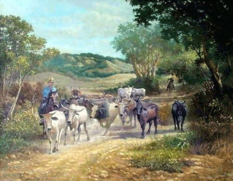 Pintura moderna y fotograf a art stica paisaje ganadero - Cuadros de vacas ...
