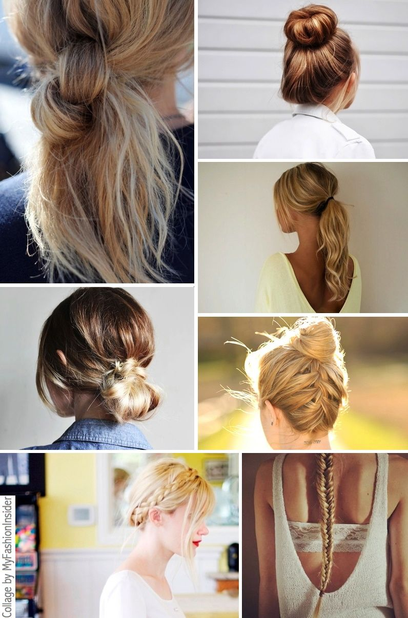 bun, ponytails, fishtail braid, low bun