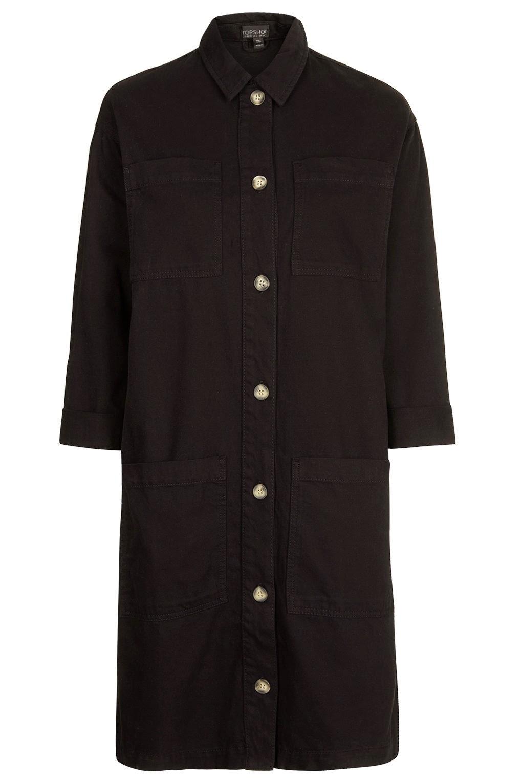 black long shirt dress