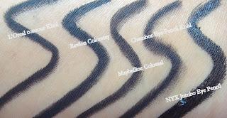 L'Oreal Contour Khol,Revlon Colorstay,Maybelline Colossal, Chambor eye kohl, NYX Jumbo Pencil