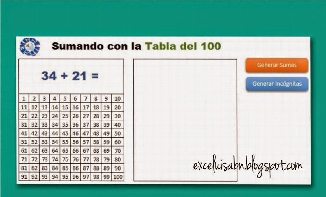 Suma con la tabla hasta el 100