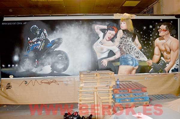 graffiti camión motorista