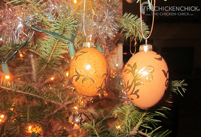 blown, decorated eggs turned into Christmas tree ornaments