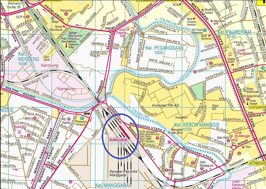 Peta Lokasi Stasiun kereta Api Manggarai
