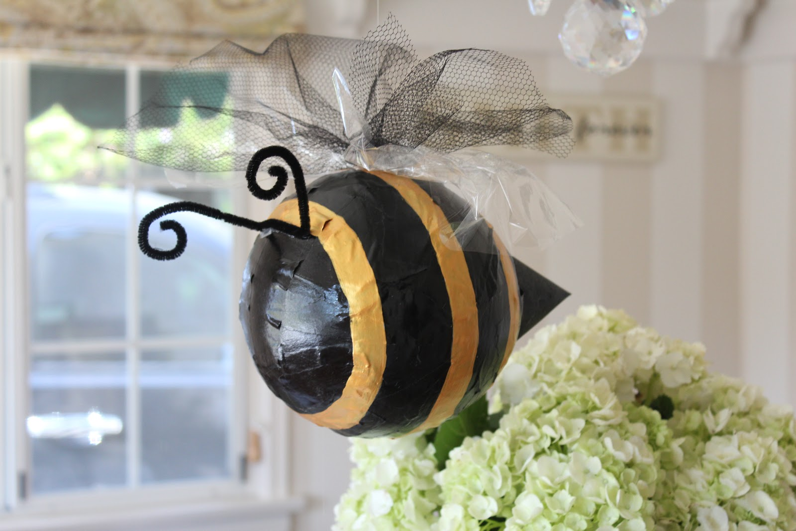 She Made The Adorable Paper Mache Bees For Decorations And Centerpieces Wrapped Tin Cans With Twine To Continue Vintage Feel On Tables