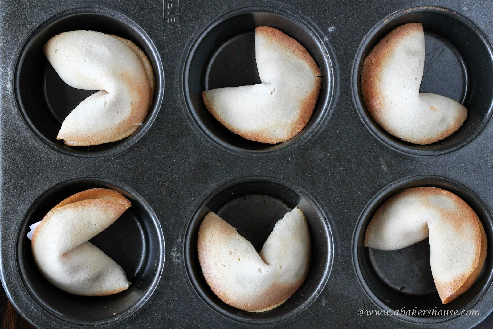 Perfectly shaped fortune cookies using muffin tins