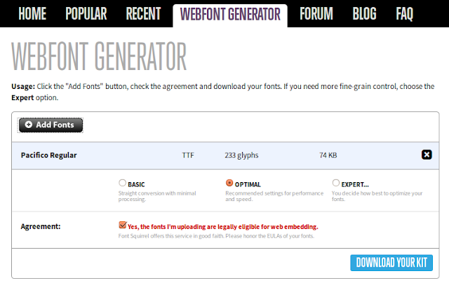 captura webfont generator de fontsquirrel