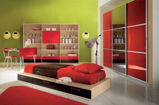 Red modern kid bedroom design ideas