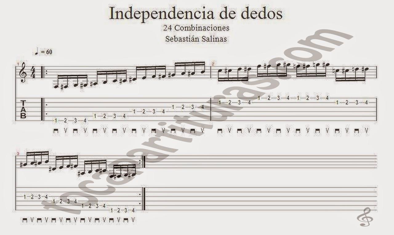 Ejercicios de Independencia de Dedos Partitura de Guitarra por Sebastián Salinas