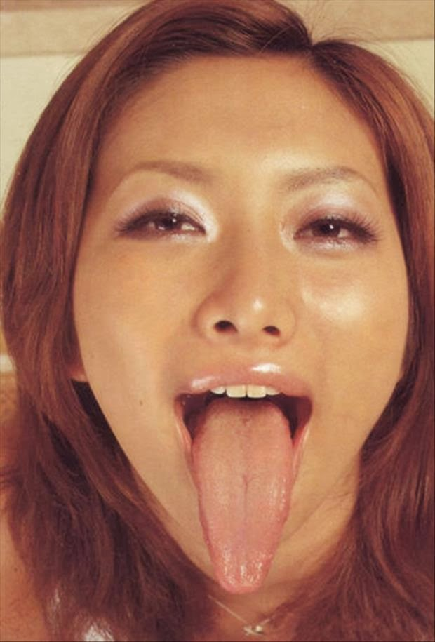 sexy long tongue woman