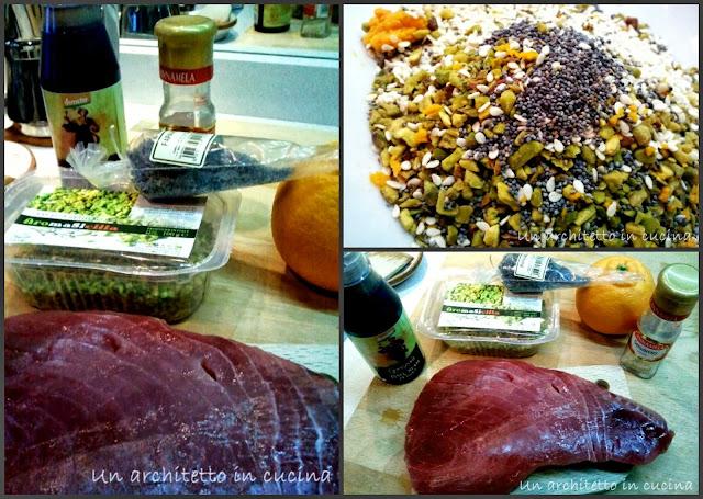tonno in crosta di pistacchio, buccia d'arancio e crema di aceto balsamico