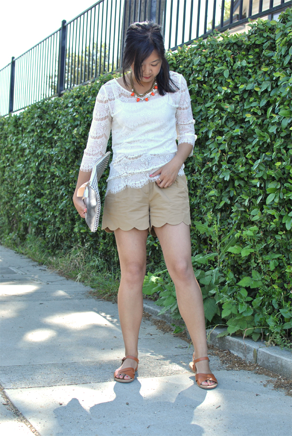 scalloped lace + shorts
