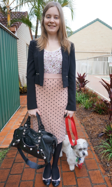 Away From the Blue Daily Outfit Pairing Florals with Polka Dots Pastel pinks