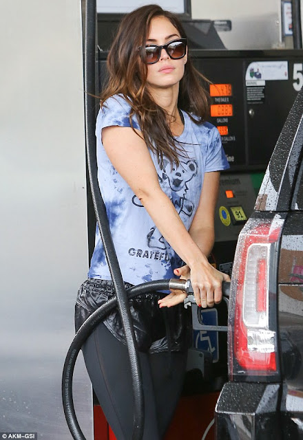 Actress, Model @ Megan Fox - At a gas station in Beverly Hills
