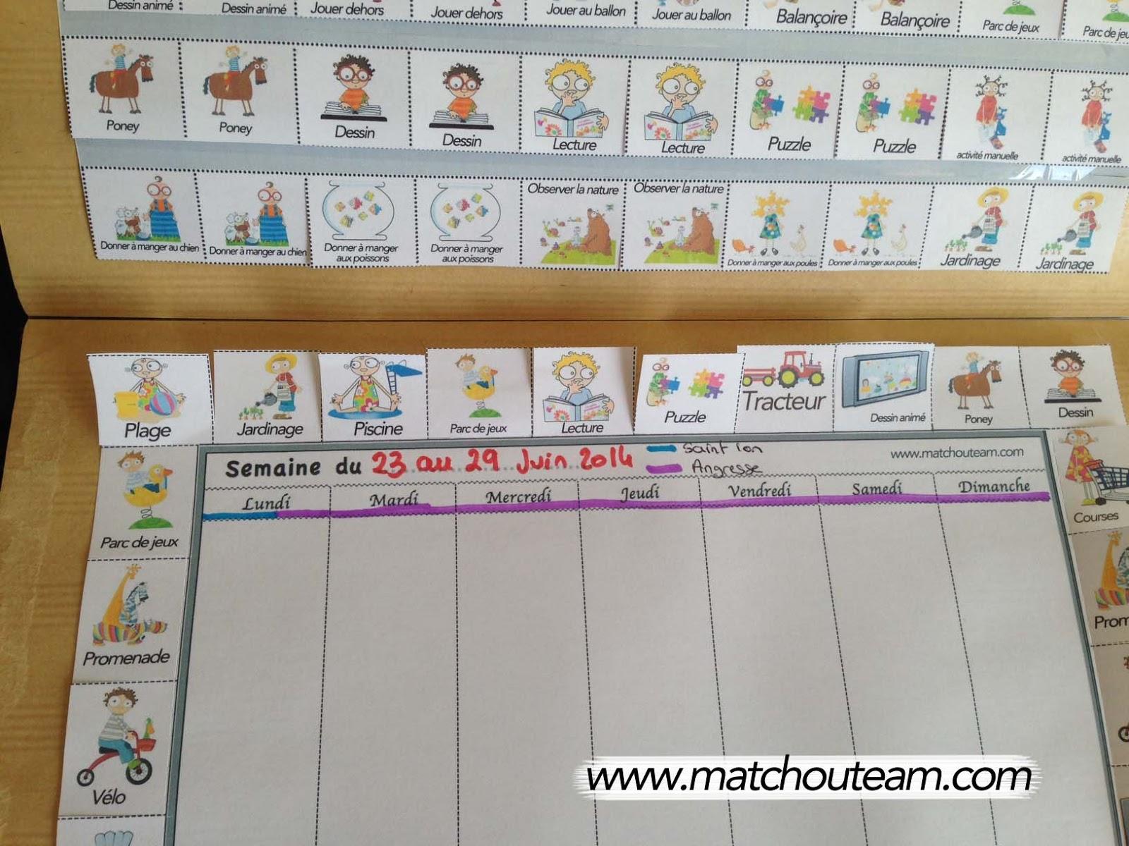semainier enfants à imprimer