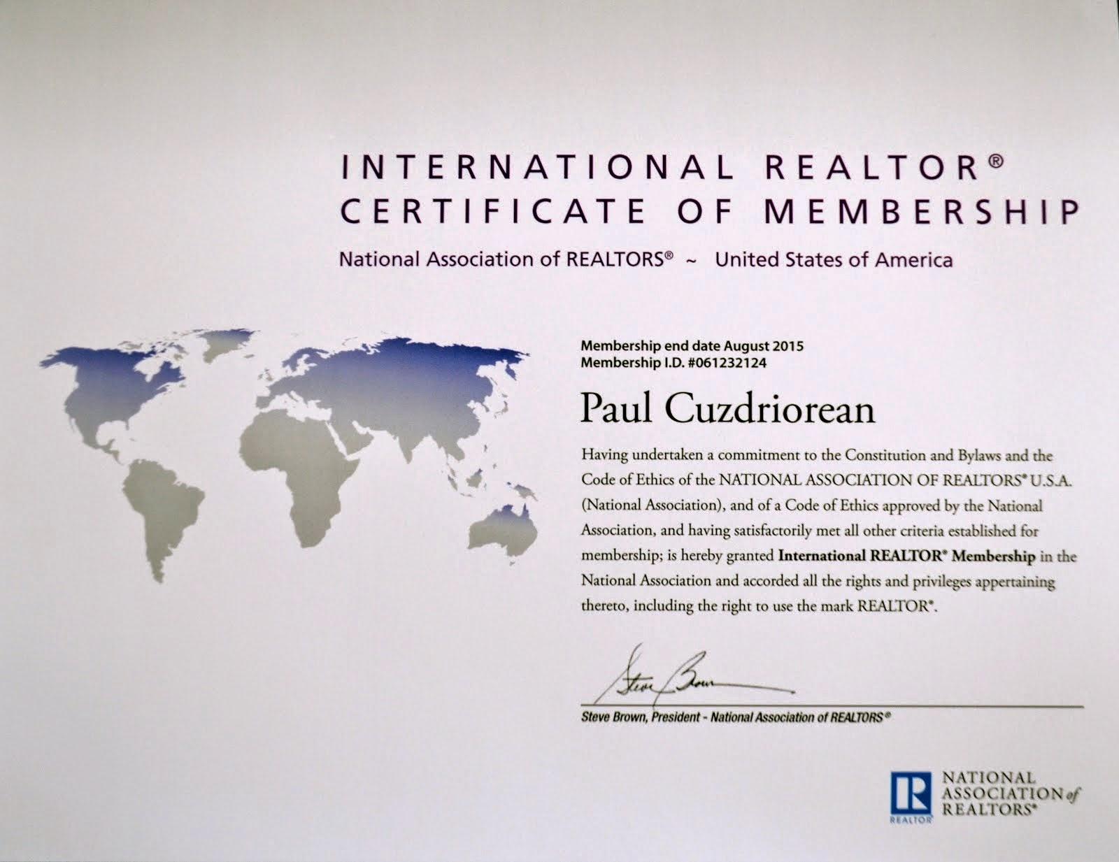International REALTOR - Certificate of Membership