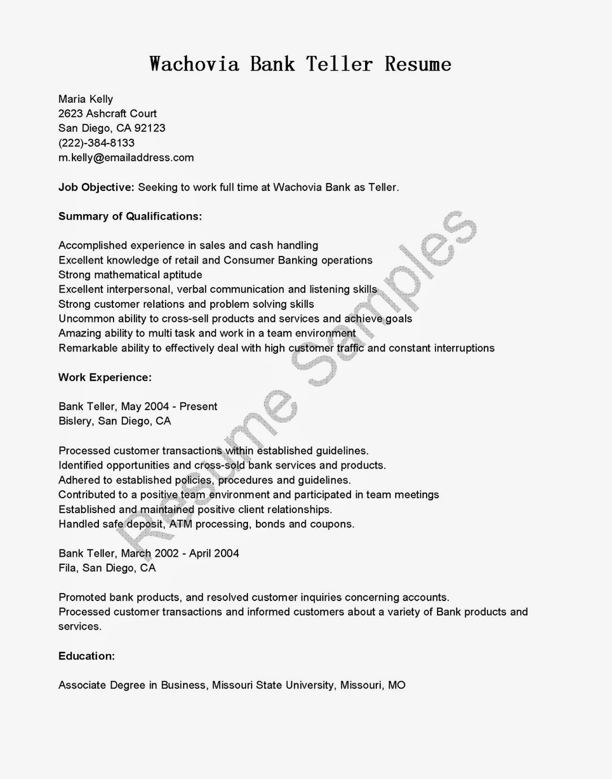 Resume Samples Wachovia Bank Teller Resume Sample