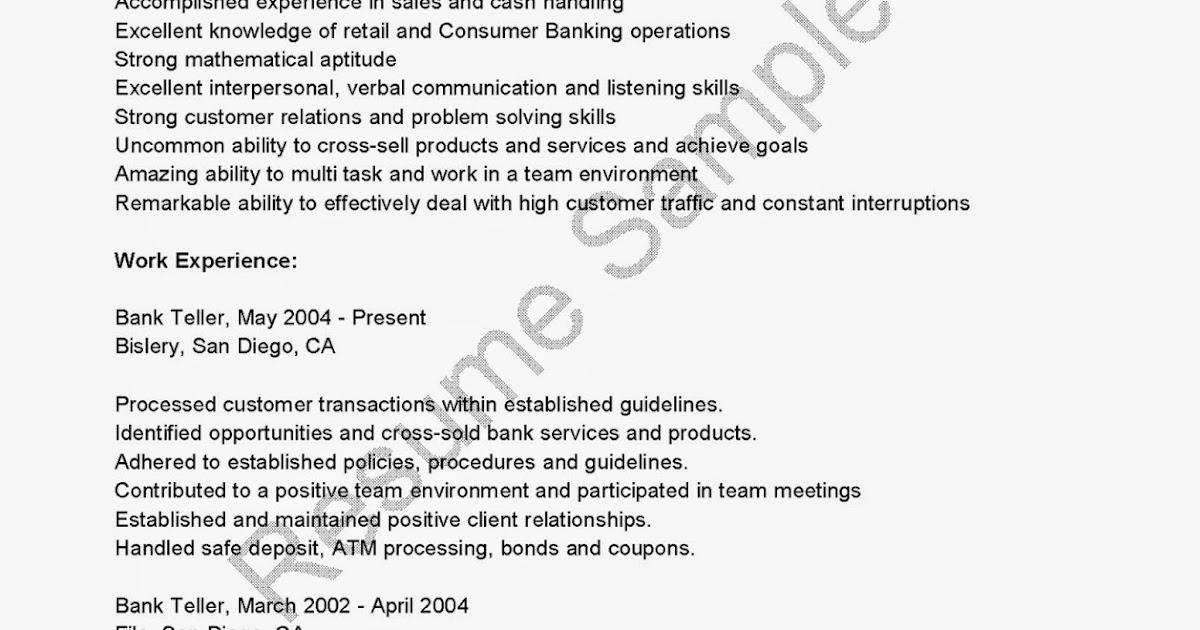 resume samples wachovia bank teller resume sample