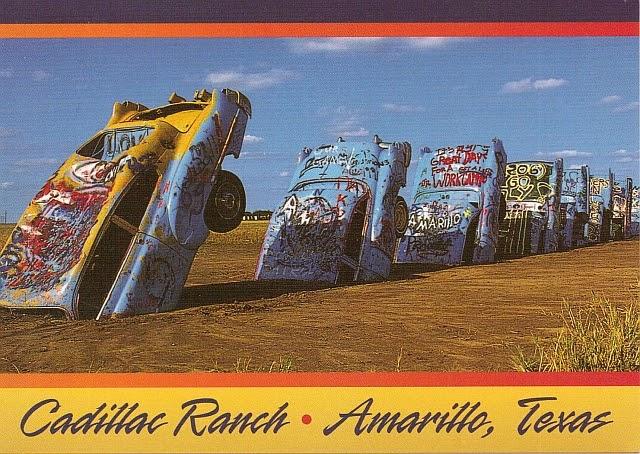 Postcards And Road Trips: Cadillac Ranch, Amarillo, Texas USA