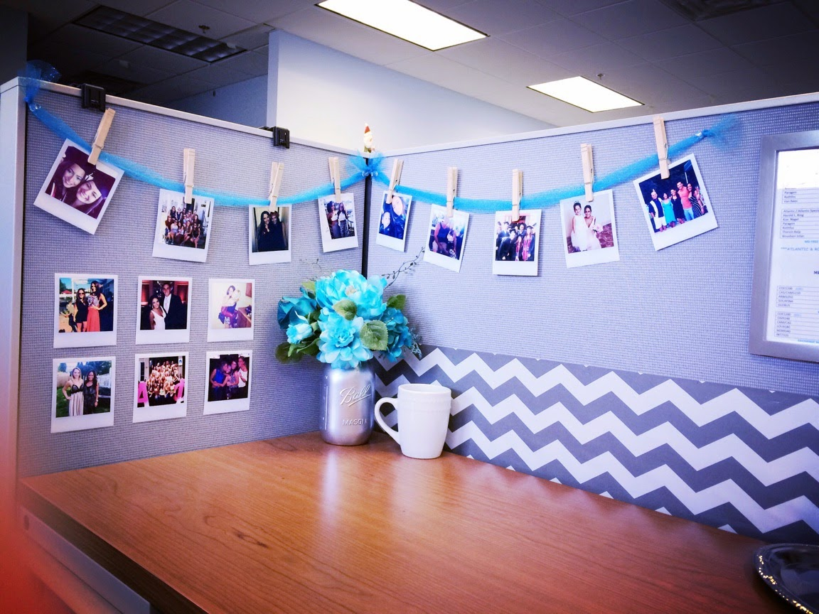 The beetique desk glam diy polaroid photos for Decorating work office ideas