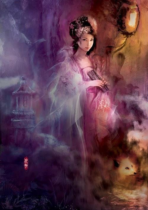 Ping He ilustrações fantasia mulheres estilo chinês