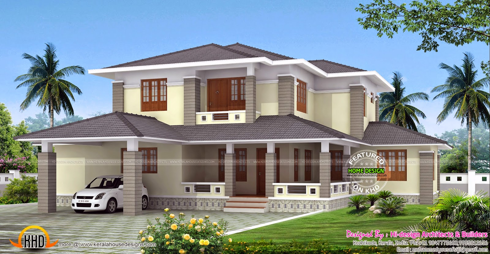 2700 sq ft kerala style sloped roof house kerala home for Home designs kerala style