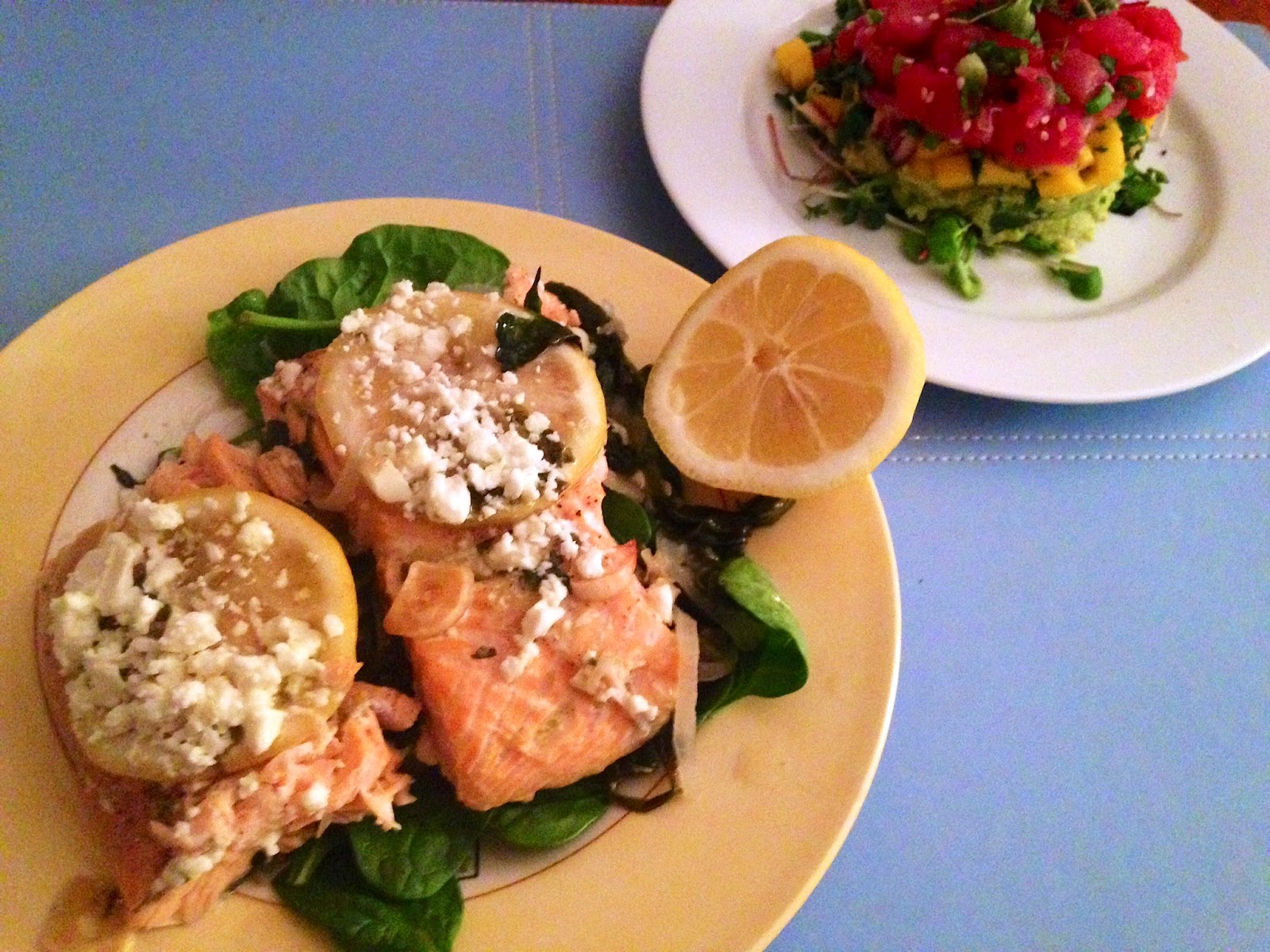 Salmon Baked in Parchment with Spinach and Feta - And What I Ate