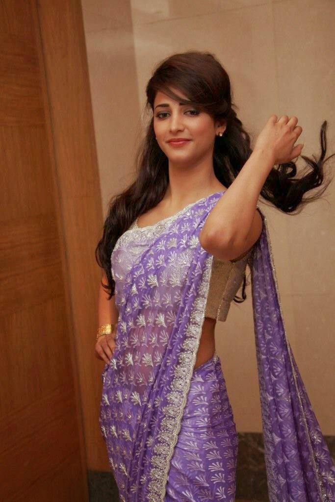 Shruti Hassan : Shruti Hassan's Latest Hot Pics In White-Purple Backless Saree Looks very Sexy