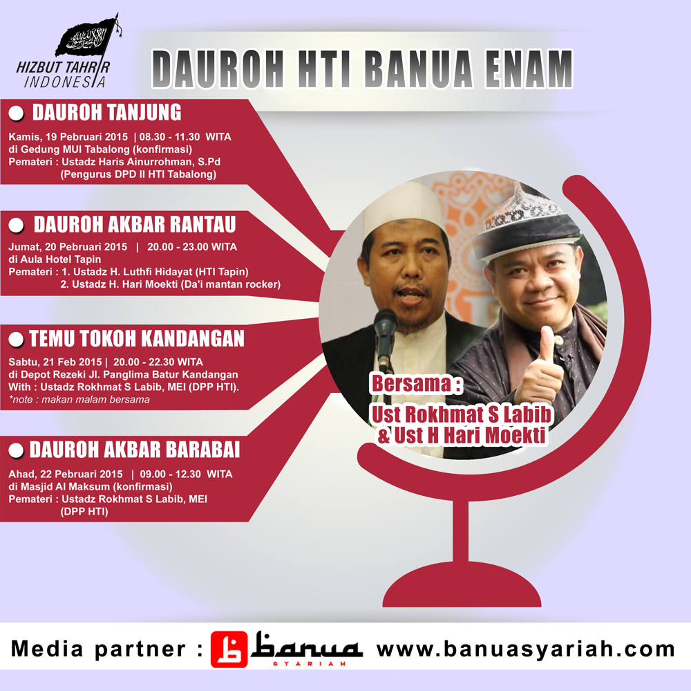 Event Akbar Febaruari 2015 Dauroh dan Silaturahmi Tokoh Bersama HTI Banua Enam