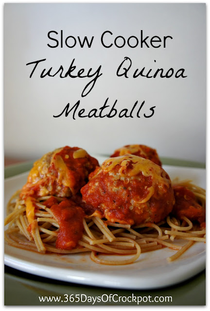 Recipe for Slow Cooker Turkey Quinoa Meatballs #crockpot