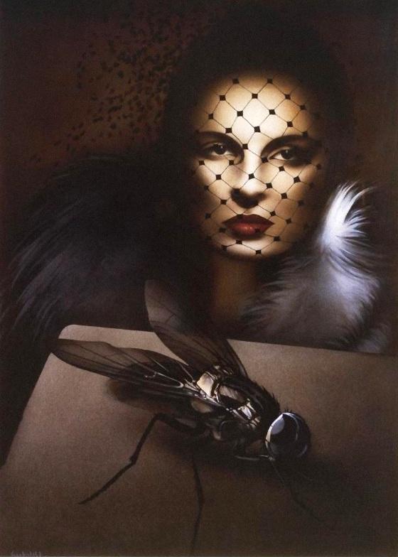Moderne vanitas af Hans Henrik Lerfeldt: Kvinde med slør og spyflue (1980)