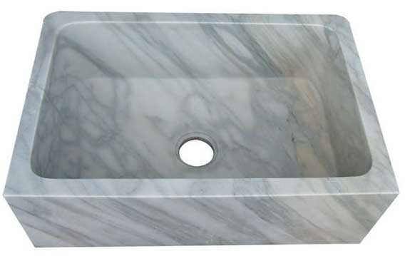 White Carrera Marble Kitchen Sink In A Rectangular Shape Farm Sink Design With A Single Basin Cravings And Geometrical Shapes Can Be Added To The Front Of