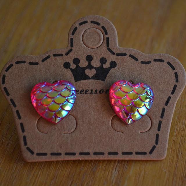heart mermaid scale earrings
