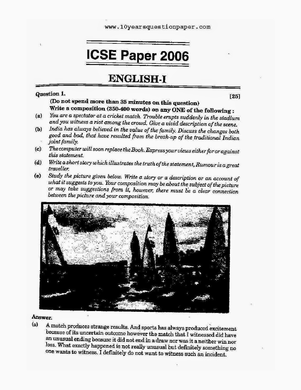 Icse class 10th 2006 English Language solved question paper 2006