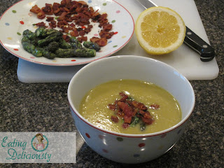 ... minutes drain and garnish the soup with the bacon and asparagus