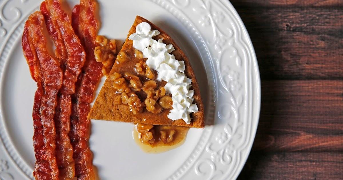 ... Flip Pumpkin Pie Pancakes Topped w/ Brown Butter Cinnamon Walnut Syrup