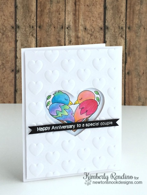 Bird Love Anniversary Card by Kimberly Rendino | Darling Duos Stamp Set by Newton's Nook Designs #newtonsnook
