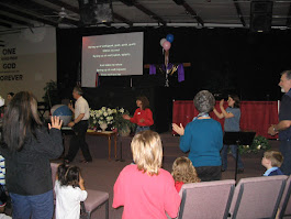 Piper and I leading some fun praise songs during an all church family event!
