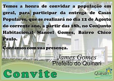Prefeito James Gomes entregará Casas Populares