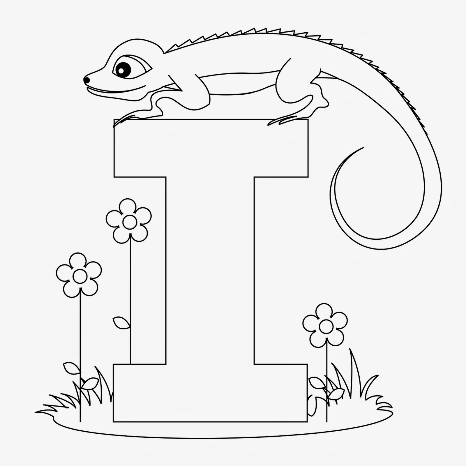 Printable Alphabet Coloring Pages Iguana