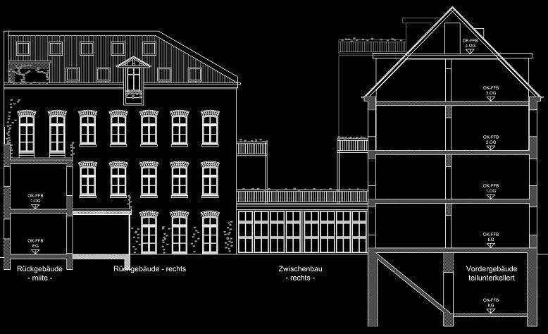 Schnitt Vordergebäude - Ansicht Rückgebäude rechts (05-2012)