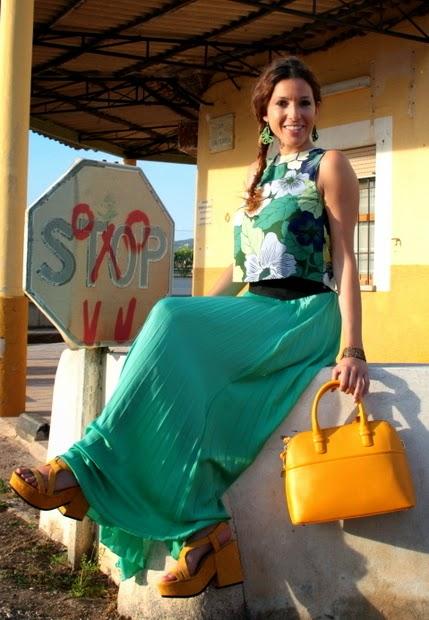 falda tablas verde