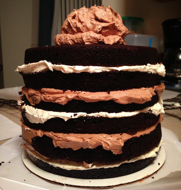 Six-Layer Chocolate Cake with Toasted Marshmallow Filling and Malted